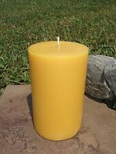 "5"" Handmade 100% Beeswax Round Pillar Candle All-Natural, Cotton Wick Long Burn"