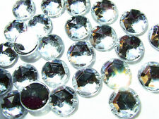 100 Crystal Clear Faceted Beads Acrylic Rhinestone/Gems 10 mm Flat Back StitchOn
