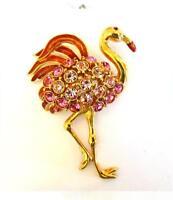 Huge Vintage TRIFARI Rhinestone & Enamel Pink Flamingo Brooch - Excellent Cond.!