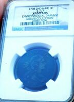 1798 LARGE CENT 2ND HAIR S-177 NGC XF+++++++++ ULTRA RARE MERVIS COLLECTION