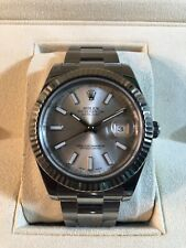 ROLEX Mens White Gold & Stainless DateJust II Silver Dial 116334