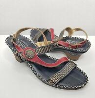 Women's Spring Step L'Artiste Dreamer Leather Artsy Slingback Sandals Sz EUR 38