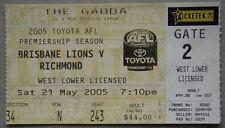 Brisbane Lions v Richmond Tigers The Gabba Sat 21 May 2005 AFL Ticket