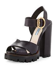 Prada Crisscross Leather Platform Sandal, Black (Nero) Size 38 MSRP: $875.00