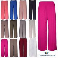 Ladies Women Palazzo Plain Flared Wide Leg Pants leggings Baggy Trousers 8-26