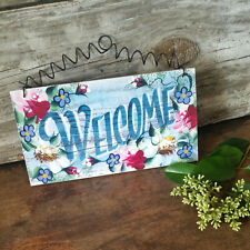 Welcome Sign * Indoor Decor * Blue Floral * Decorative Greetings Design USA New