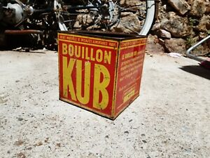 boite ancienne bouillon KUB déco cuisine vintage hauteur 14cm manque couvercle