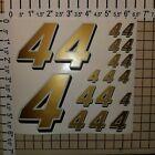 Gold w/ white / black #4's  Racing Numbers Vinyl Decal Sheet 1/10- 1/12 rustler