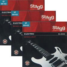 3x Saiten für E-Gitarre Elektrische Gitare 09er Seiten Stahl Nickel Stagg EL0942