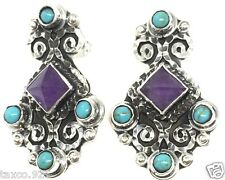 Turquoise Scroll Bead Earrings Mexico Taxco Mexican 925 Sterling Silver Amethyst