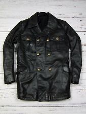 POLIZEI Police Officer German Military Leather Coat Jacket Black Size 94