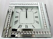 0f0812a6bc64 Brillante Plata Cristal Grande Reflectante Cuadrado Reloj Pared Grande  45cmx45cm