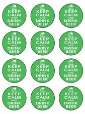 "12 x Keep Calm And Drink Beer 2"" Edible CupCake / Cake Toppers"