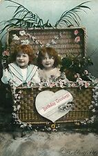 VINTAGE PHOTO POSTCARD BIRTHDAY GREETING 2 RED HAIRED GIRLS SIGNED DORTHY M