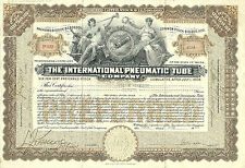 New York 1922, International Pneumatic Tube Company Stock Certificate, Maine Abn