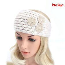 2018 Women Floral Crochet Headband Knit Pearls Hairband Ear Warmer Winter Turban Beige