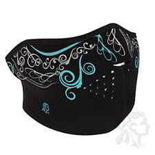 Black White Glow Dark Venetian Half Neoprene Face Mask Biker Ski Womens Ladies