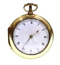 Antique C.1790 Gilt Pair Cased Fusee Verge Pocket Watch. Serviced