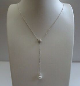 PEARL DROP NECKLACE W/ LAB DIAMONDS & PEARLS/ 925 STERLING SILVER /18''