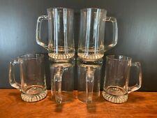 Set of 6 Clear Glass Root Beer Handled Mugs Heavy Bottom Barware 5 1/2