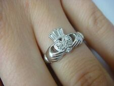 14K SOLID WHITE GOLD IRISH LOVE CLADDAGH RING-BAND WITH DIAMONDS 4.2 GRAMS
