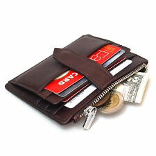 Leather Clutch Wallet Slim Credit Card Slots Zipper Coin Purse ID Photo Holder