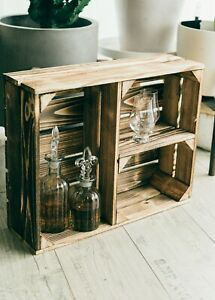 Obstkiste Holzkiste Weinkiste Gewürzregal geflammt neu Regalkiste 50 x 40 x 15cm