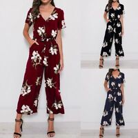 Long Leg Women Floral Print Short Sleeve Romper V Neck Playsuit Loose Jumpsuit