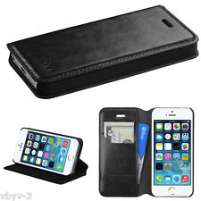 BLACK Leather Flip Wallet Case Cover Folio Pouch Stand Kit For Apple iPhone 5 5S