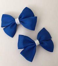 2 Packs Of Double Royal Blue Ribbon Hair Bow Clips/School Uniform