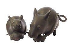 Vintage Japanese Okimono Bronze Mouse Nezumi A Set