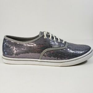 VANS Micro Sequins Lace Up Skateboard Sneaker Shoe Silver Mens 7.5 Womens 9