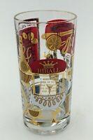 "VTG Drink Mix Gold Rim Cocktail Drink Recipe 5.5"" Bar Highball Glass"