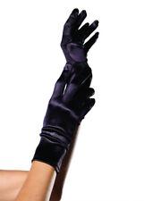 Ladies Gothic Short Black Satin Gloves