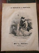 Partition Sheet Music 19 ème Siècle Le berger de la montagne Eau Forte L Puget