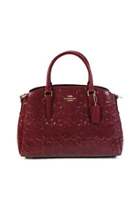 Coach Womens Patent Leather Embossed Logo Small Satchel Handbag Red