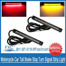 2X Universal Flexible LED Motorcycle Car Tail Brake Stop Turn Signal Strip Light