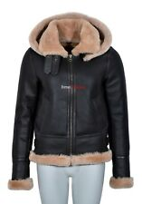 Ladies Hooded Sheepskin Jacket Beige Real Fur Hoodie Flying B3 Shearling Jacket