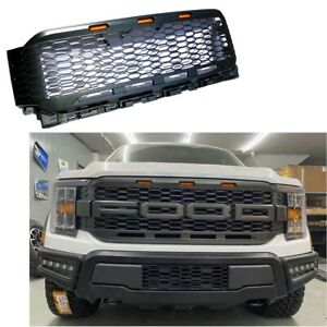For 2021 Ford F150 Raptor Style Painted Gray Front Bumper Mess Grille W/LED