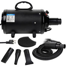 Portable Pet Hair Dryer Quick Blower Heater w/ 4 Nozzles Dog Cat Grooming Black