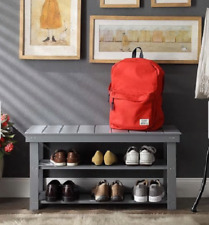 The Gray Barn Pitchfork MudRoom Entryway Foyer Shoe Storage Bench 2 Shelves