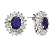 Sapphire Earrings Silver Cluster Stud Sterling Silver Studs 21 x 19mm