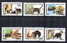 Gatos Camboya (5) serie completo de 6 sellos matasellados