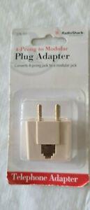 Radio Shack 4-Prong to RJ-11/ RJ-14 Modular Telephone Plug Adapter 279-351 NIB