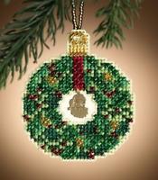 MILL HILL CHRISTMAS JEWELS ORNAMENTS Beaded Cross Stitch Kit EMERALD WREATH 1305