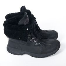 UGG Lined Duck Short/Ankle Boots Snow Waterproof Lace Up Black 7.5