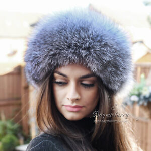 Silver Fox Fur Hat with Leather Top, Real Fur Hat, Winter Hat