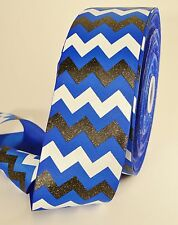 "3"" Royal Blue Black and White Glitter Chevron Striped Grosgrain Cheer Bow Ribbon"