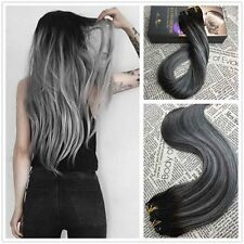 Grey Balayage Clip in Human Hair Extension Brazilian Remy Hair Extension 7P/100G