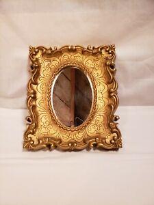 Vintage Square Framed Small Mirror, Ornate Golden Plastic Frame, Wall Hanging